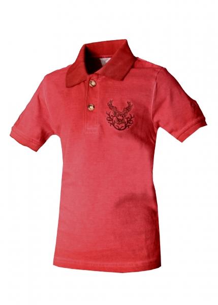Kinder Trachten Poloshirt Trachtenshirt Glött rot Isar Trachten