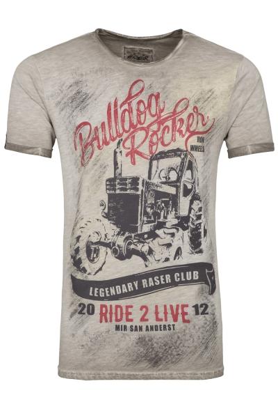 "Buben Trachten T-Shirt grau ""Bulldog Rocker"" Hangowear"