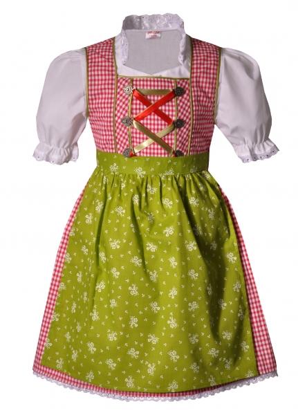 Kinderdirndl Eisenheim rot grün 3-tlg. Trachtenset