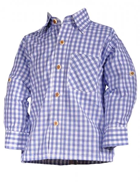 Kinder Trachtenhemd Aaron blau-weiß karo Isar Trachten
