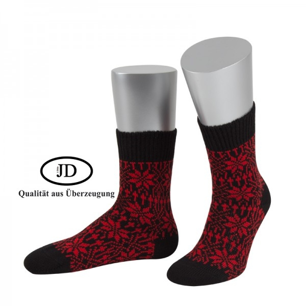 Norwegersocken Socken in schwarz und rot von JD