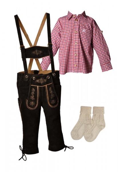 Kinder Trachtenlederhosen-Set 4-tlg. kniebund dunkelbraun von Lekra mit rotem Hemd von OS Trachten