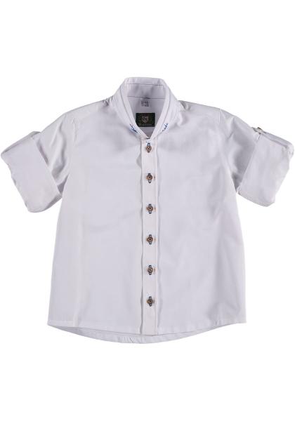 Kinder Trachtenhemd Gebenhofen weiß blau Krempelarm OS-Trachten