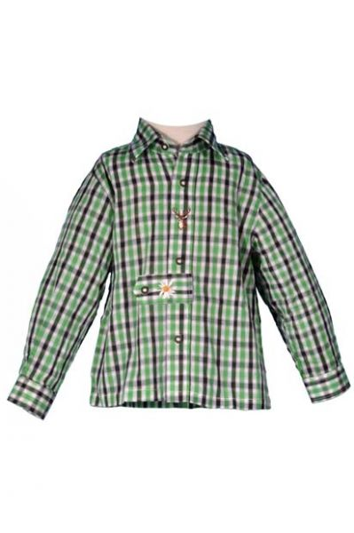 Trachtenhemd Bodo grün kariert Langarm Kitzo Alpen