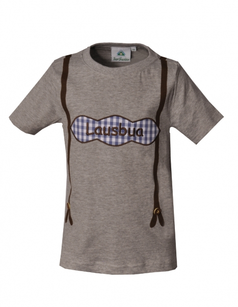 Kinder Trachten T-Shirt Hattenhofen grau/blau Kurzarm Isar-Trachten