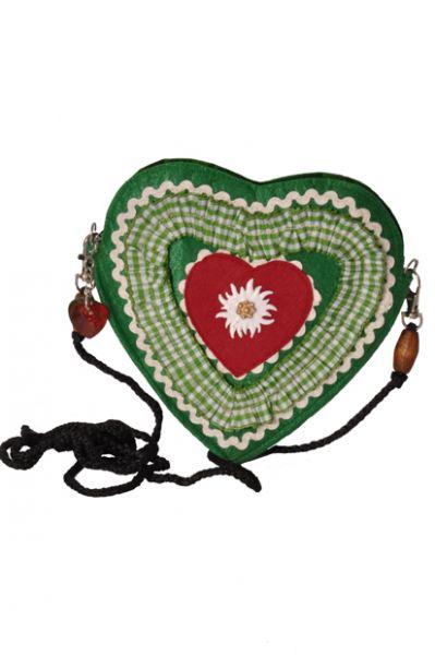 Dirndltasche grün/rot Herz