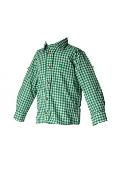 Kinder Trachtenhemd Moritz tannengrün Krempelarm OS Trachten