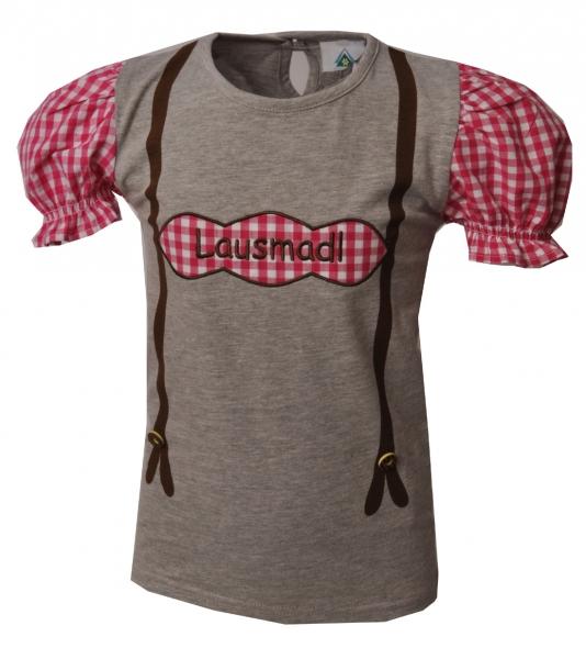 Kinder Trachten T-Shirt Hattenhofen grau/rosa Kurzarm Isar-Trachten