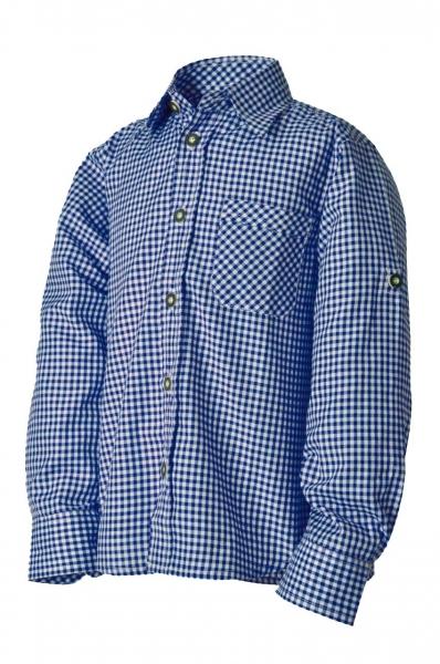 Kinder Trachtenhemd Leon kobaltblau/weiß karo Lekra