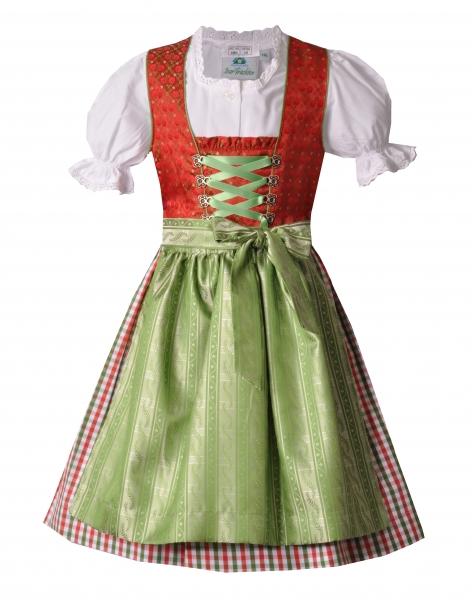Mädchendirndl Teeniedirndl rot grün-3-tlg. Set von Isar-Trachten