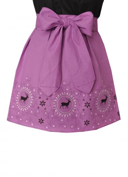 Dirndlschürze für Mädchen in lila mit Hirschmotiv