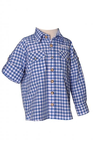 Kinder Trachtenhemd Gipfelbua Langarm blau Karo Krempelarm v. OS-Trachten