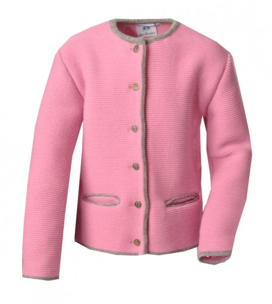 Kinder Trachten Strickjacke Obertresenfeld rosa / grau hellgrau Isar Trachten