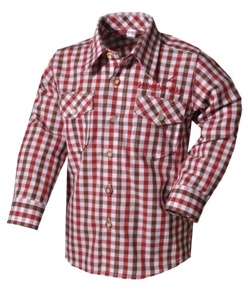 Kinder Trachtenhemd Beratzhausen braun/rot Langarm OS Trachten