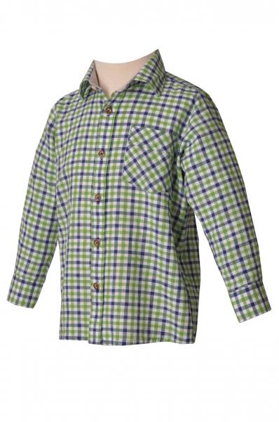 Kinder Trachtenhemd Durach giftgrün/blau OS Trachten
