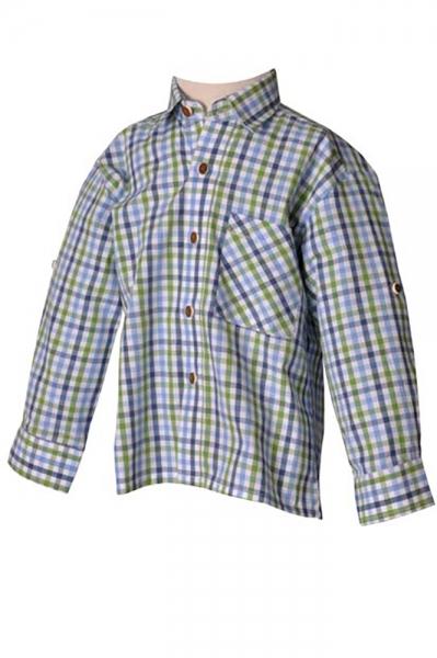 Kinder Trachtenhemd Benni blau/grün karo Isar Trachten