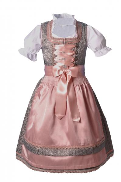 Kinderdirndl Jugenddirndl Ebelsbach grau rosa Set 3-tlg. Bayer Madl