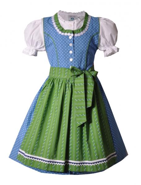 Kinderdirndl Gallmersgarten blau grün 3-tlg. Trachtenset Isar Trachten