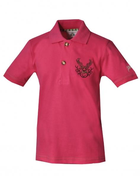 Kinder Trachten Poloshirt Trachtenshirt Hohenpolding pink Hirschstickerei Isar Trachten