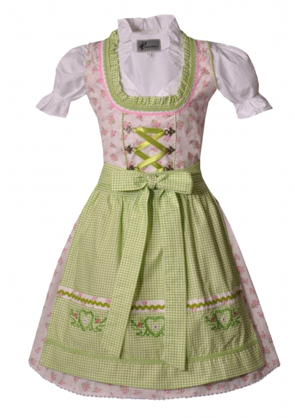 Kinderdirndl Jugenddirndl Thurnau grau grün Set 3-tlg. Bayer Madl