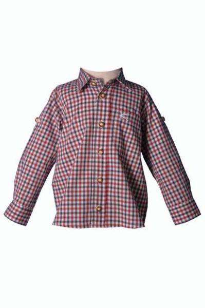 Kinder Trachtenhemd Toni rot/grün langarm OS-Trachten