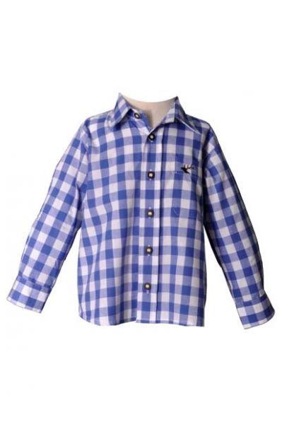 Kinder Trachtenhemd Dominik blau Krempelarm OS-Trachten
