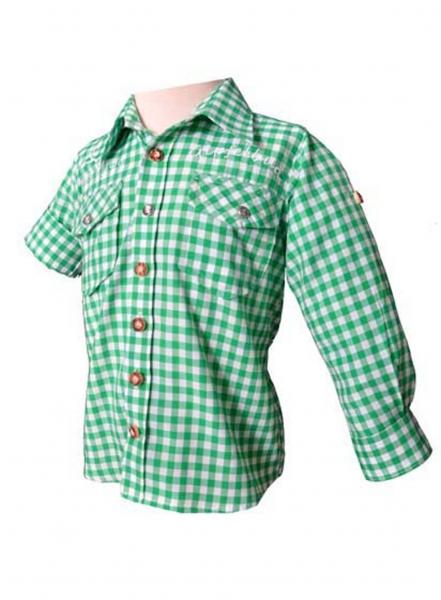 Kinder Trachtenhemd Gipfelbua Langarm trachtengrün karo Krempelarm v. OS-Trachten