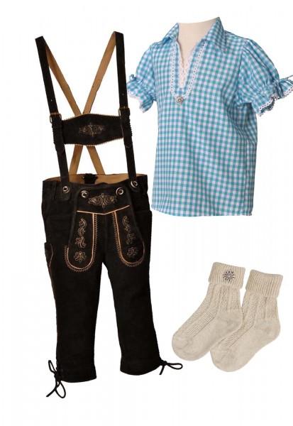 Kinder Trachtenlederhosen-Set 4-tlg. kniebund dunkelbraun von Lekra mit türkiser Bluse von OS Tracht