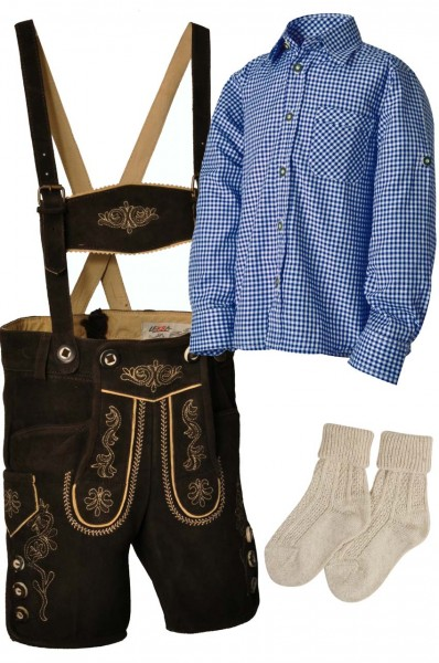 Kinder Trachtenlederhosen-Set 4-tlg. kurz dunkelbraun mit blauem Hemd von Lekra