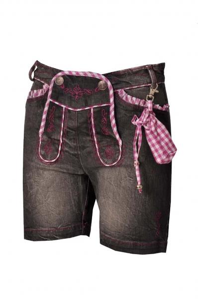 Kinder Jeans kurz Annalena anthrazit/beere Lekra