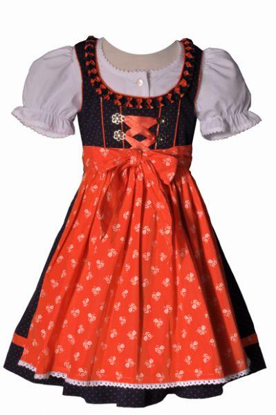 JULIANA MARINE ORANGE KINDERDIRNDL DIRNDL-SET 3 TLG. LEKRA