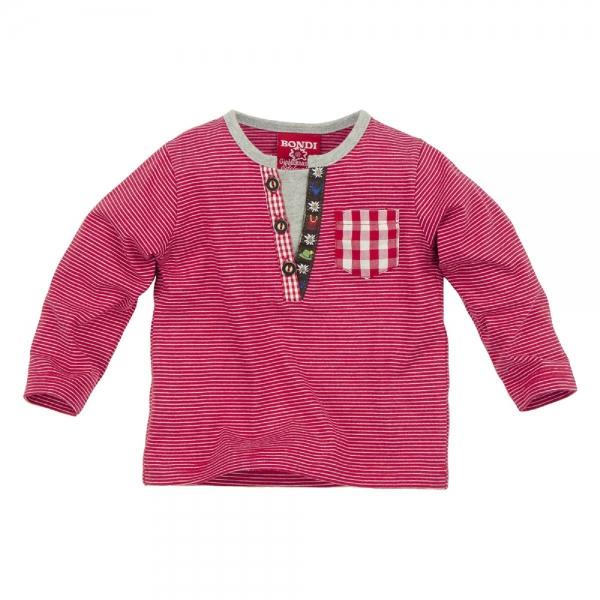 Kinder T-Shirt Gipfelkraxler rot/weiss gestreift Langarm Bondi