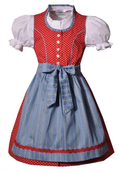 Kinderdirndl Fürstenfeldbruck rot blau 3-tlg. Trachtenset Isar Trachten