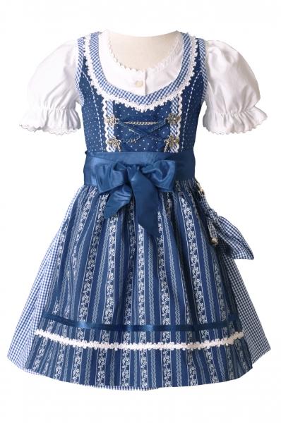 Kinderdirndl Anja kobalt blau /weiß Trachtenset 3-tlg. Lekra