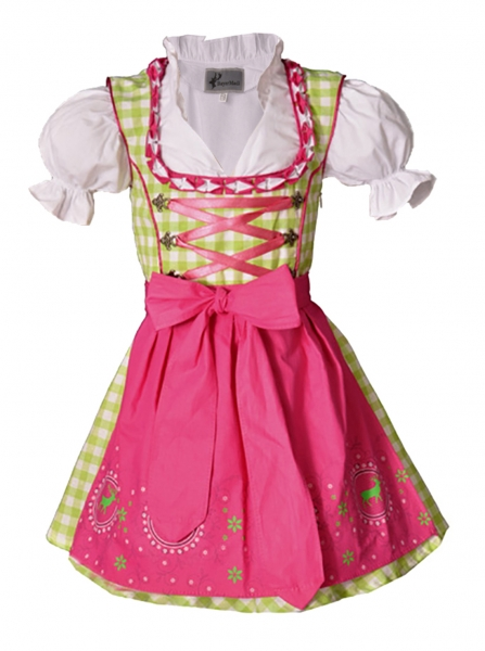 Kinderdirndl Carolin grün/pink Set 3-teilig von Bayer Madl