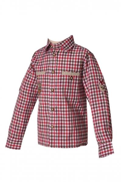 Trachtenhemd Fabian braun/rot karo Lekra