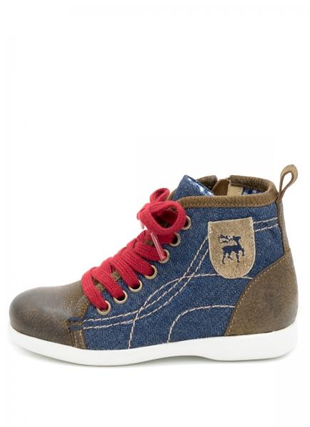 B-Ware /2. Wahl Kinder Sneaker Iltis blau braun Canvas/Nubuk gespeckt denim/rustik Spieth & Wensky