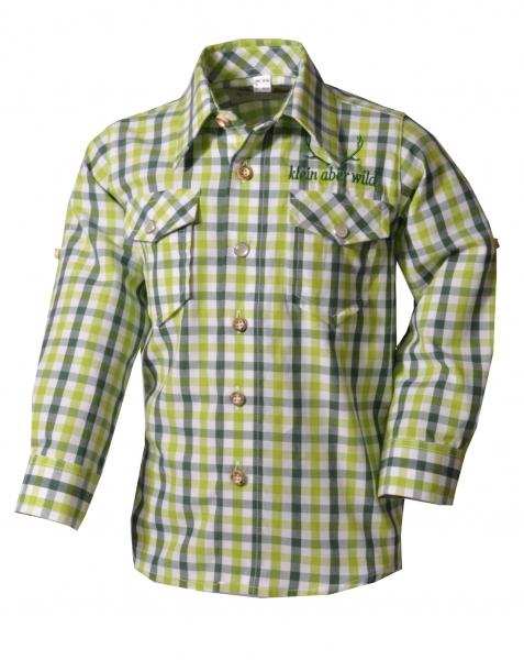 Kinder Trachtenhemd Beratzhausen hellgrün Karo Langarm OS Trachten