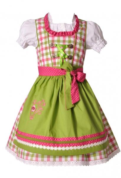 Kinderdirndl Hohenfurch grün pink karo Trachtenset 3-tlg v. Bayer Madl