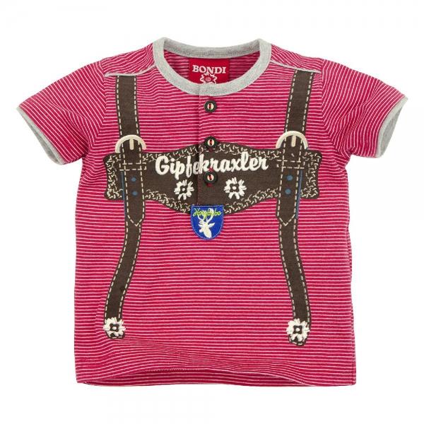 "Kinder T-Shirt ""Hosenträger"" Gipfelkraxler rot/weiss geringelt Kurzarm Bondi"