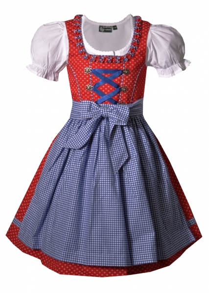Kinderdirndl Zillertal rot blau kobalt 3-tlg. Trachtenset Alpenfeeling Maddox