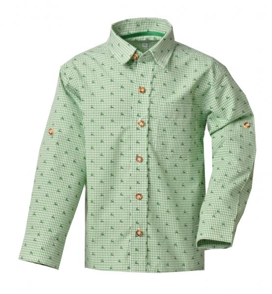Kinder Trachtenhemd Falkenfels grün Karo Langarm Krempelarm Isar-Trachten