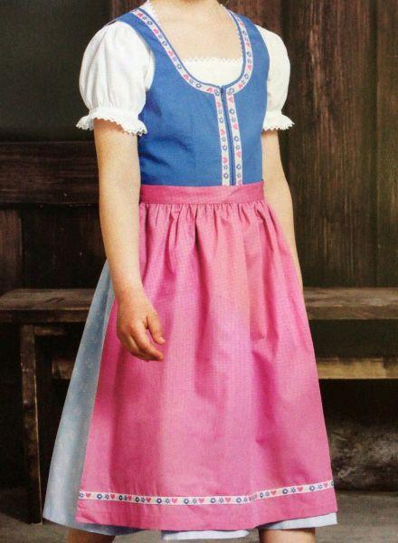 Kinderdirndl Jugenddirndl Eggerting blau pink Set 3-tlg.