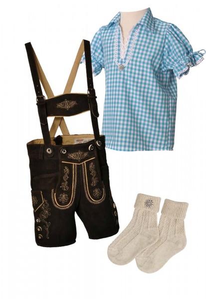 Kinder Trachtenlederhosen-Set 4-tlg. kurz dunkelbraun von Lekra mit türkiser Bluse von OS Trachten