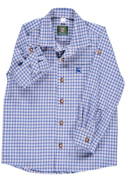 Kinder Trachtenhemd Wollkofen kornblau Langarm OS Trachten