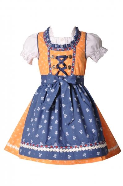 Kinderdirndl Pfakofen orange/blau 3-tlg. Trachtenset