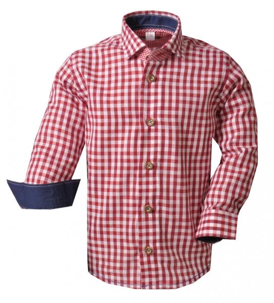 Kinder Trachtenhemd Buttenwiesen rot Karo Langarm OS Trachten