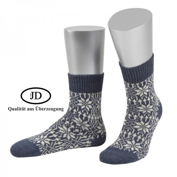 Norwegersocken Socken in jeansblau und weiß von JD