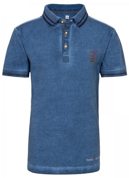 Trachtenshirt Poloshirt Geier blau Spieth & Wensky