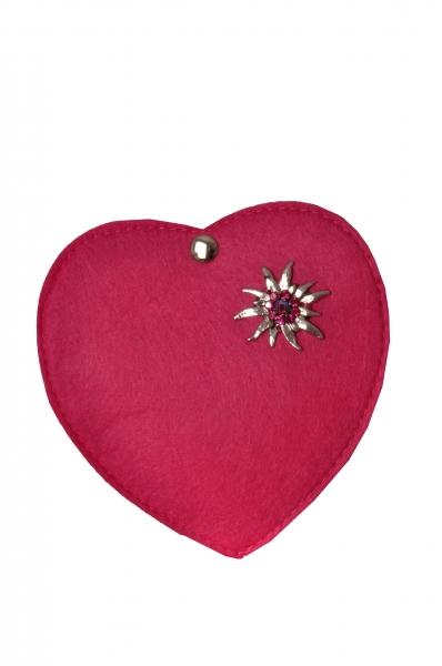 Kinder Trachtentasche Herz Perlesreut pink Wolkenweis